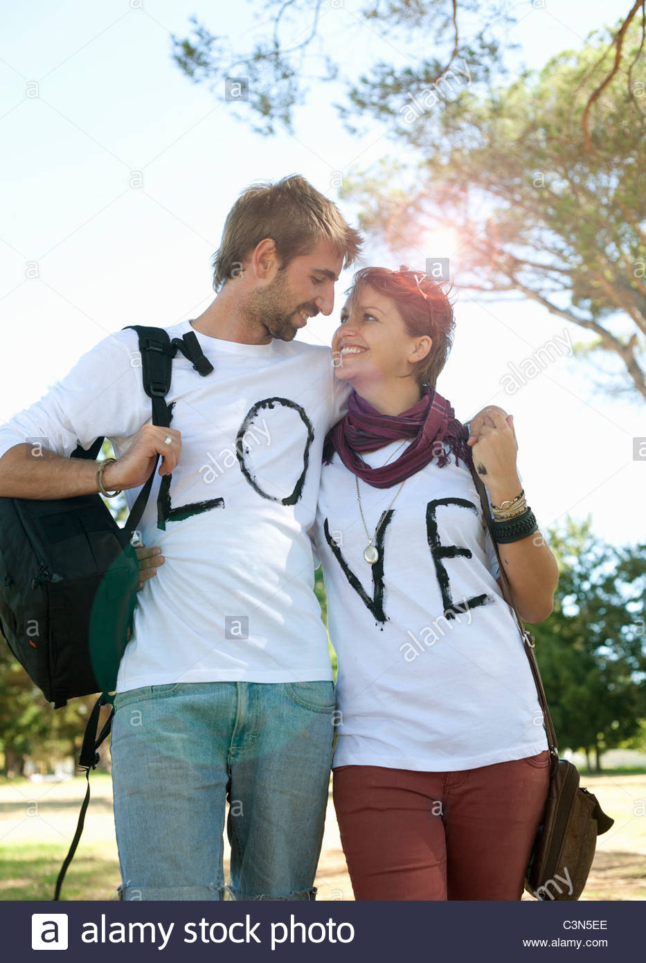 Young couple embracing - Stock Image