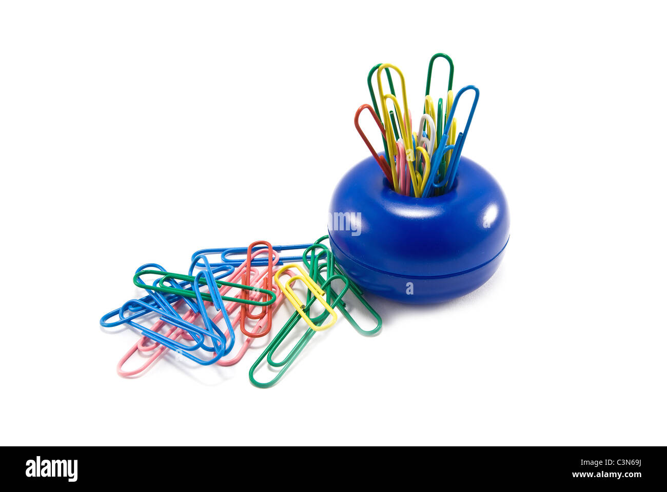 isolated paper clips are on support - Stock Image