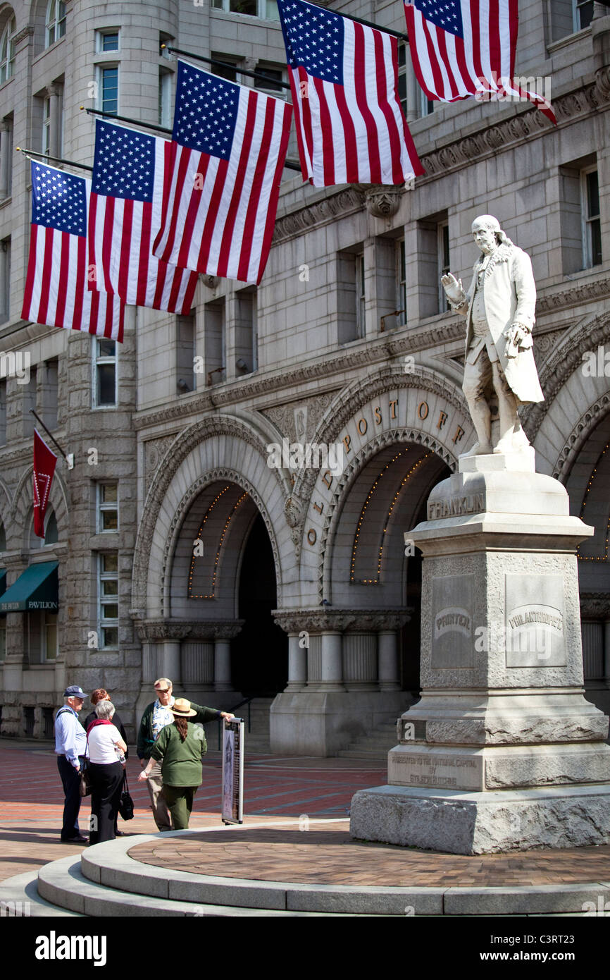 Statue Of Benjamin Franklin In Front Of The Old Post Office Pavilion,  Washington DC