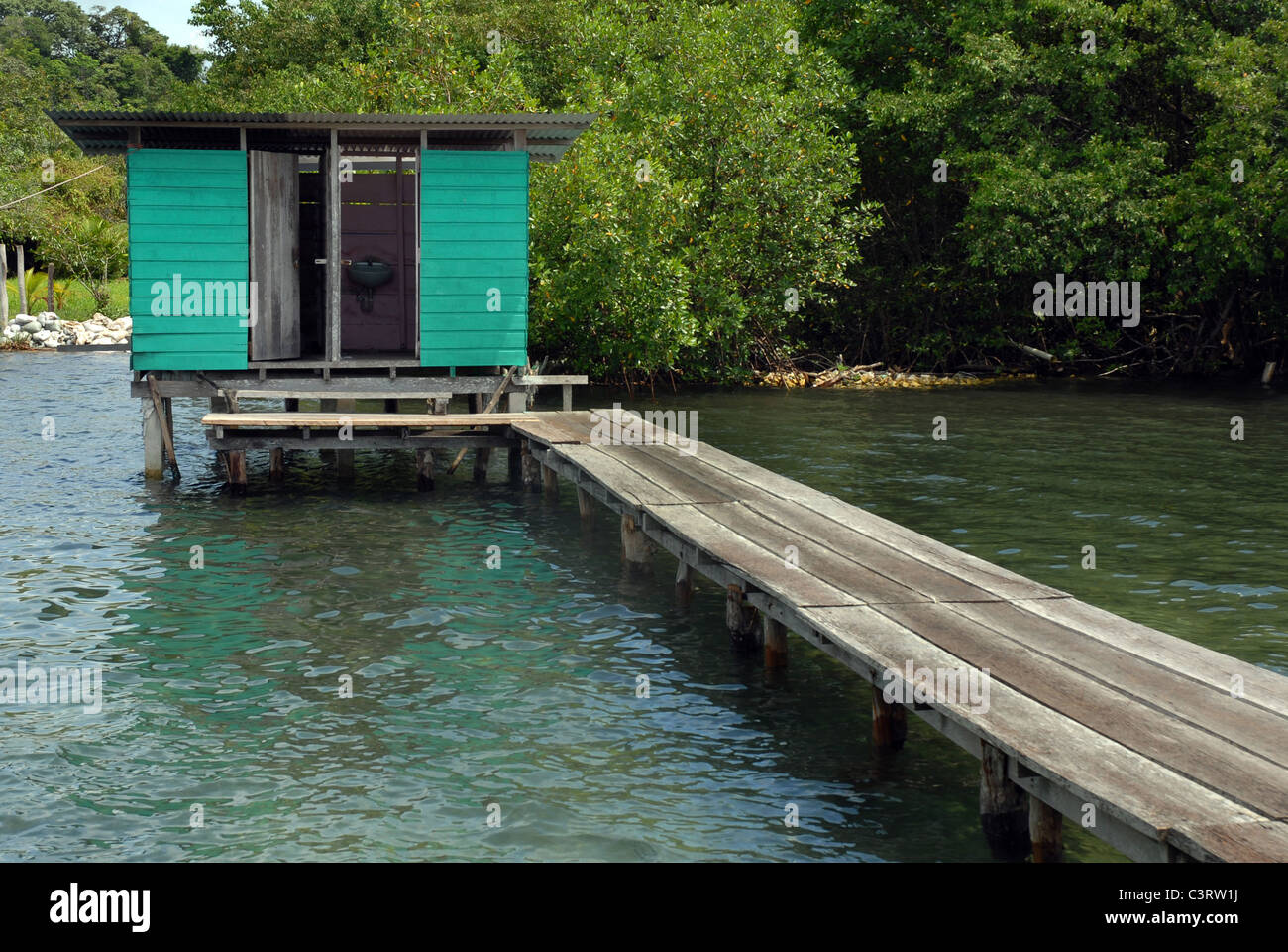 Small wooden bath house at the end of the bridge Stock Photo ...