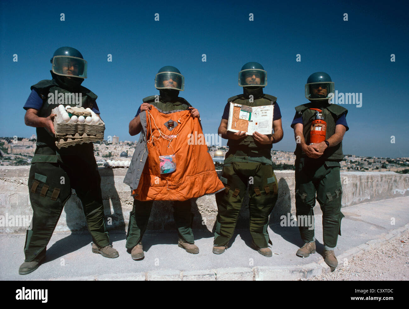 Israeli Sappers from a Jerusalem Bomb Squad show camouflaged bombs that they found in Jerusalem. Jerusalem, Israel - Stock Image