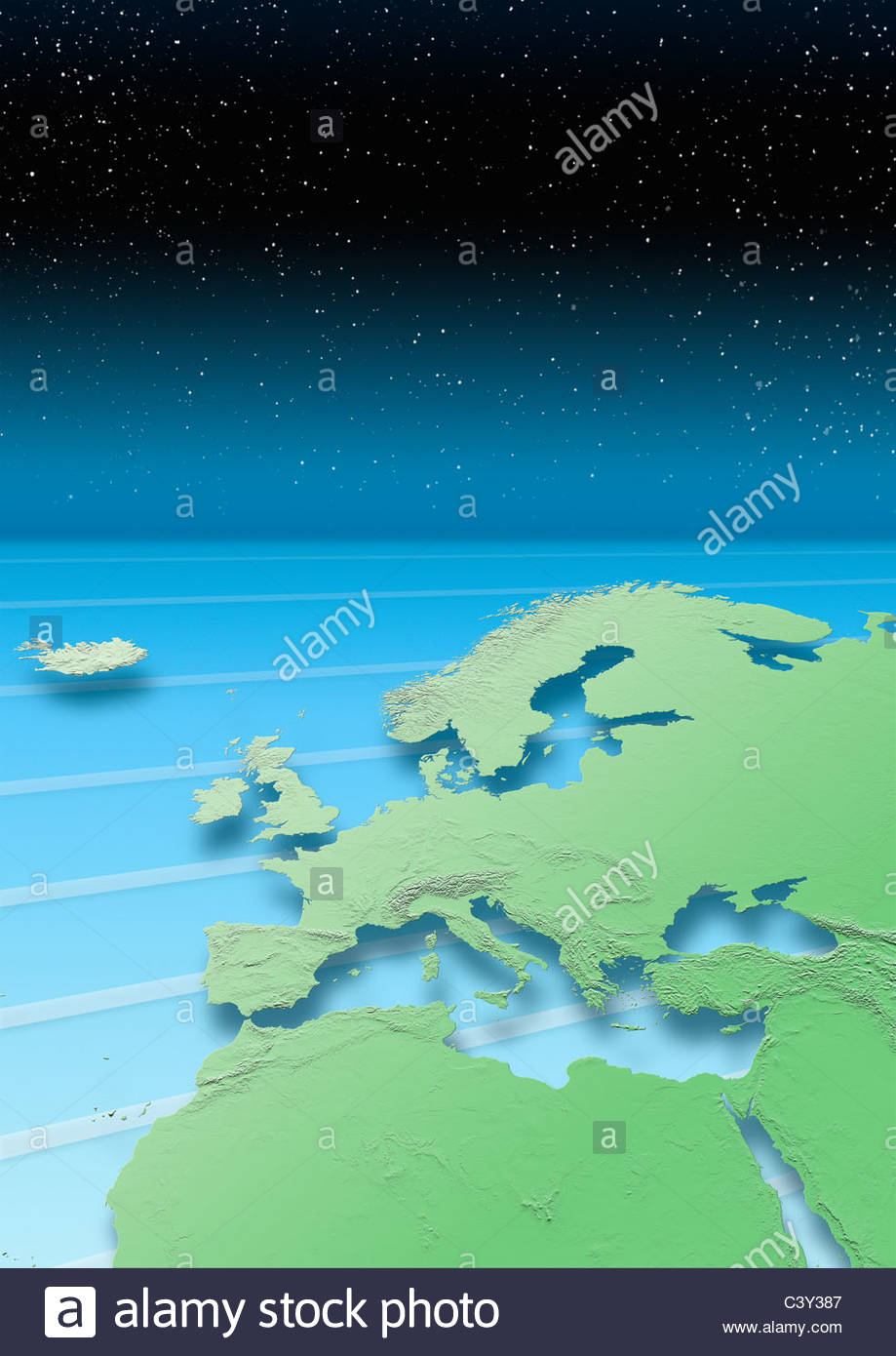 map, Western Europe, green, blue, stars, night sky, relief map - Stock Image