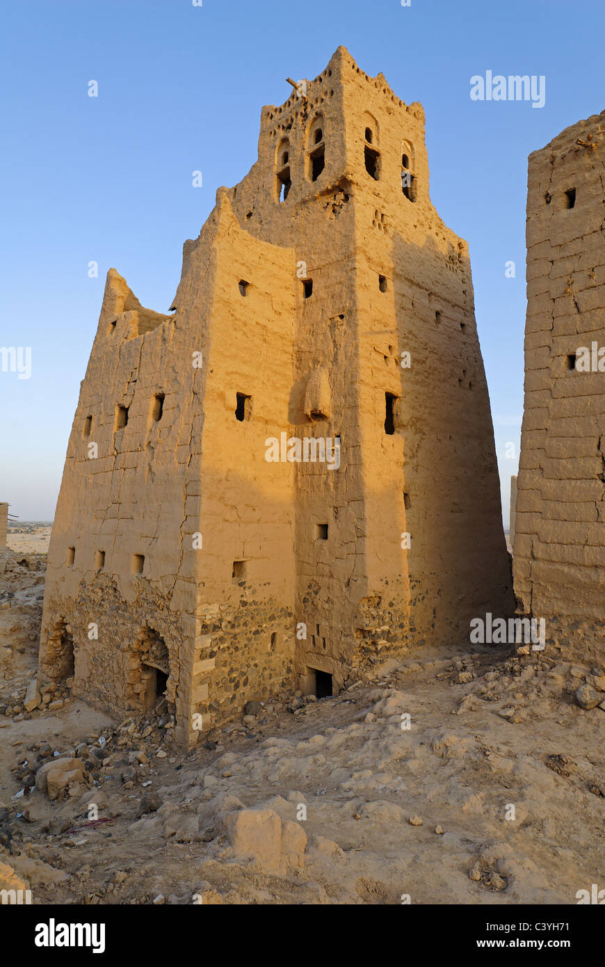 Old town, City, Marib, Yemen, Arabia, Middle East, Abandoned, Tower houses, Houses, Architecture, Ruins, Ruin Stock Photo
