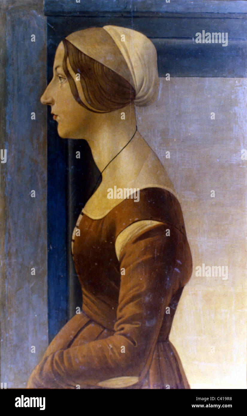 "Kunst, Botticelli, Sandro (1444/1445 - 1510), painting, ""Portrait of a Young Woman"", oil on panel, circa 1475, Galleria Stock Photo"