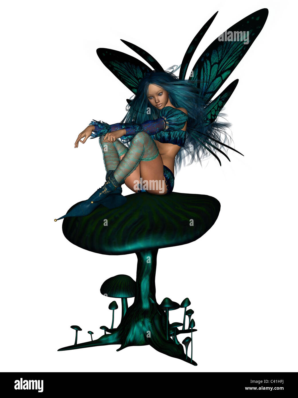 Turquoise Fairy Sitting on a Toadstool - Stock Image