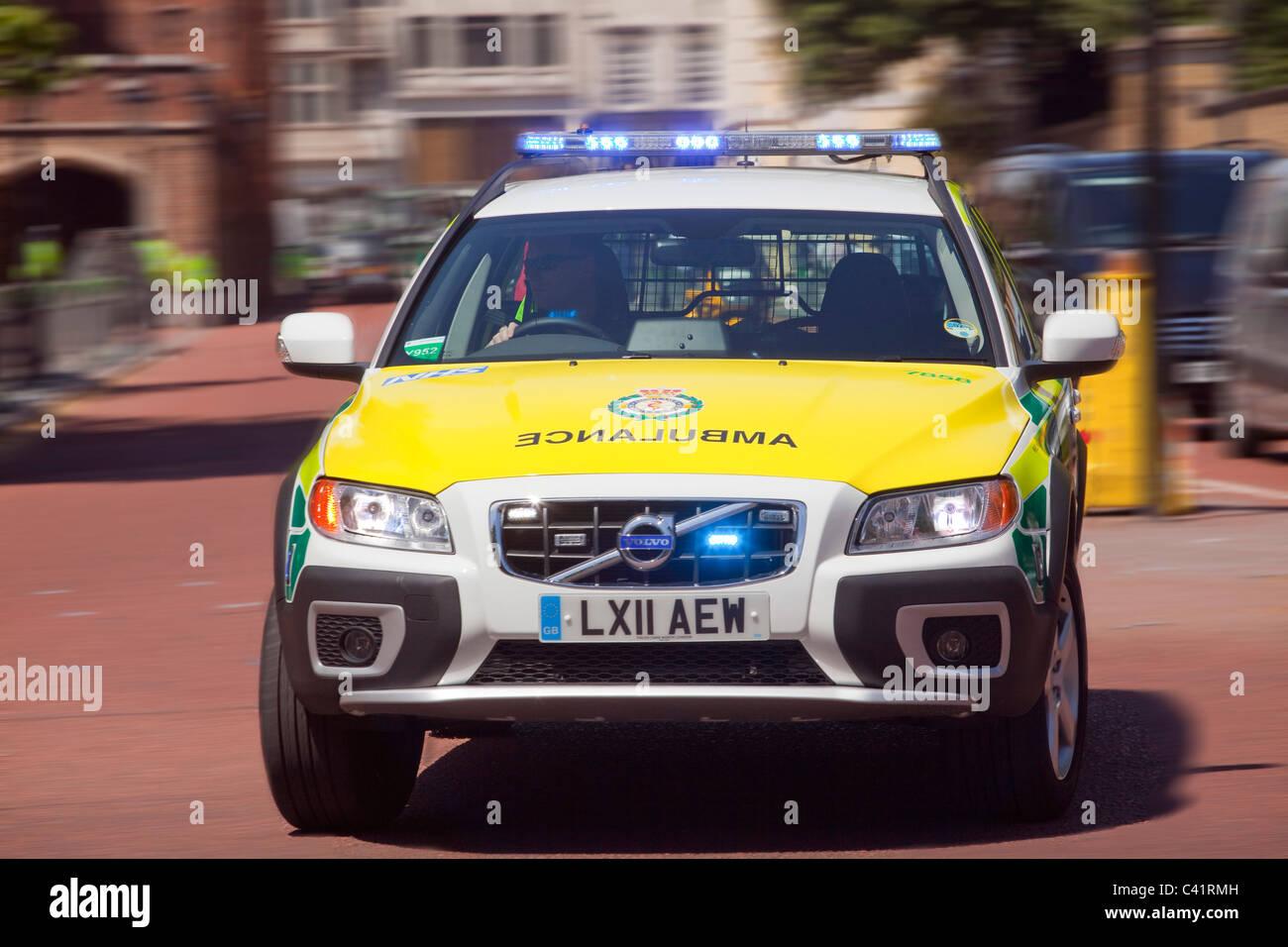 Emergency Ambulance speeding to an accident - Stock Image