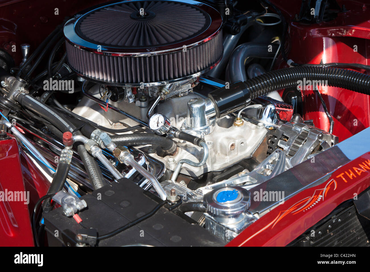 Engine Of A Classic Chevrolet Chevy II Nova At Car Show In Leesburg - Leesburg car show