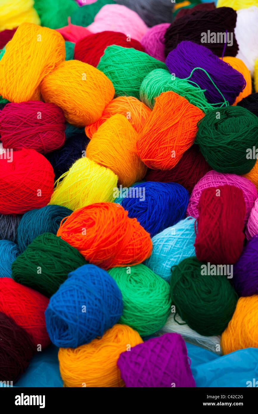 Peru, Huancarani, Wool for sale on market. - Stock Image