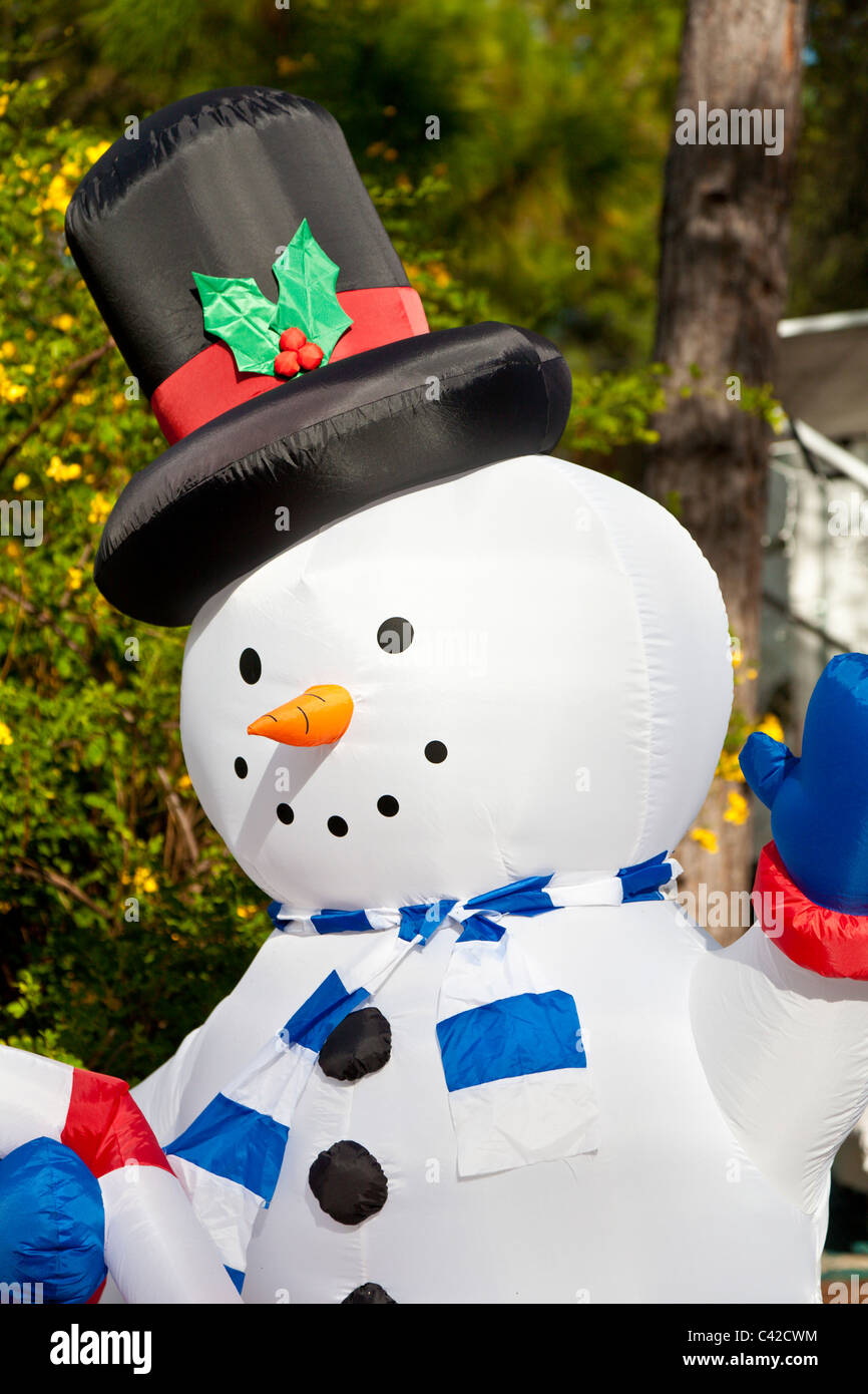 snowman inflatable christmas holiday decorations in fort wilderness resort at walt disney world kissimmee florida usa