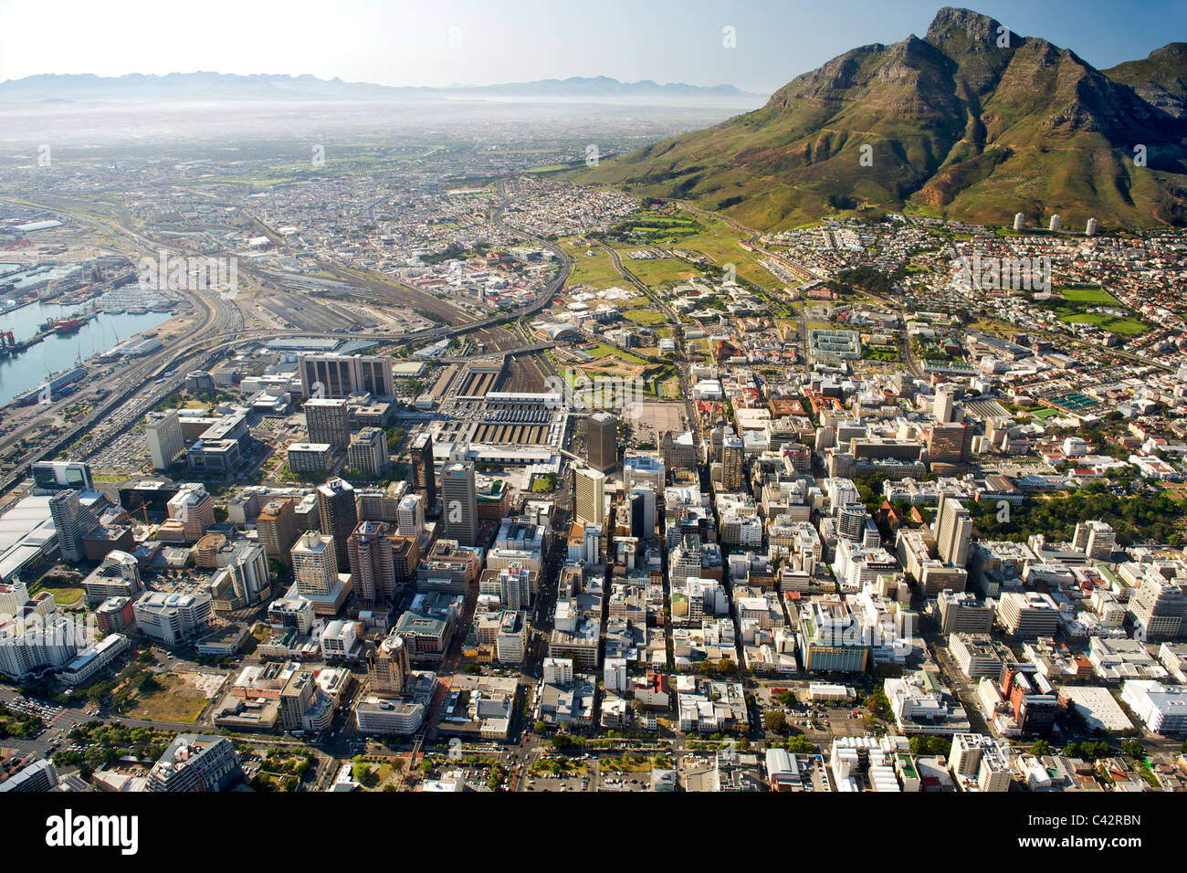 Aerial view of the buildings of the CBD in Cape Town, South Africa. - Stock Image