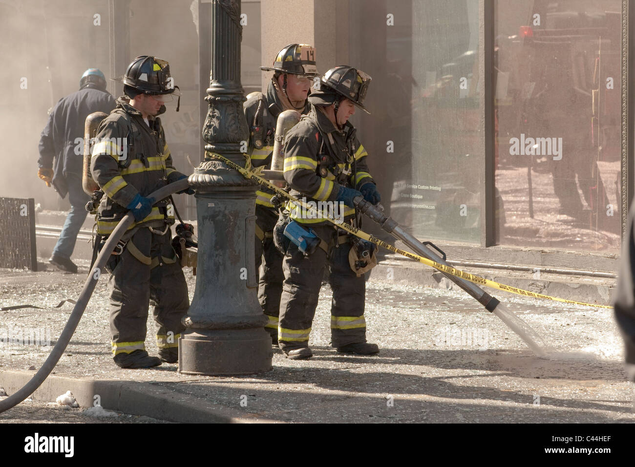 Emergency services attend the scene of an explosion in a building at 20'th street in New York City. - Stock Image