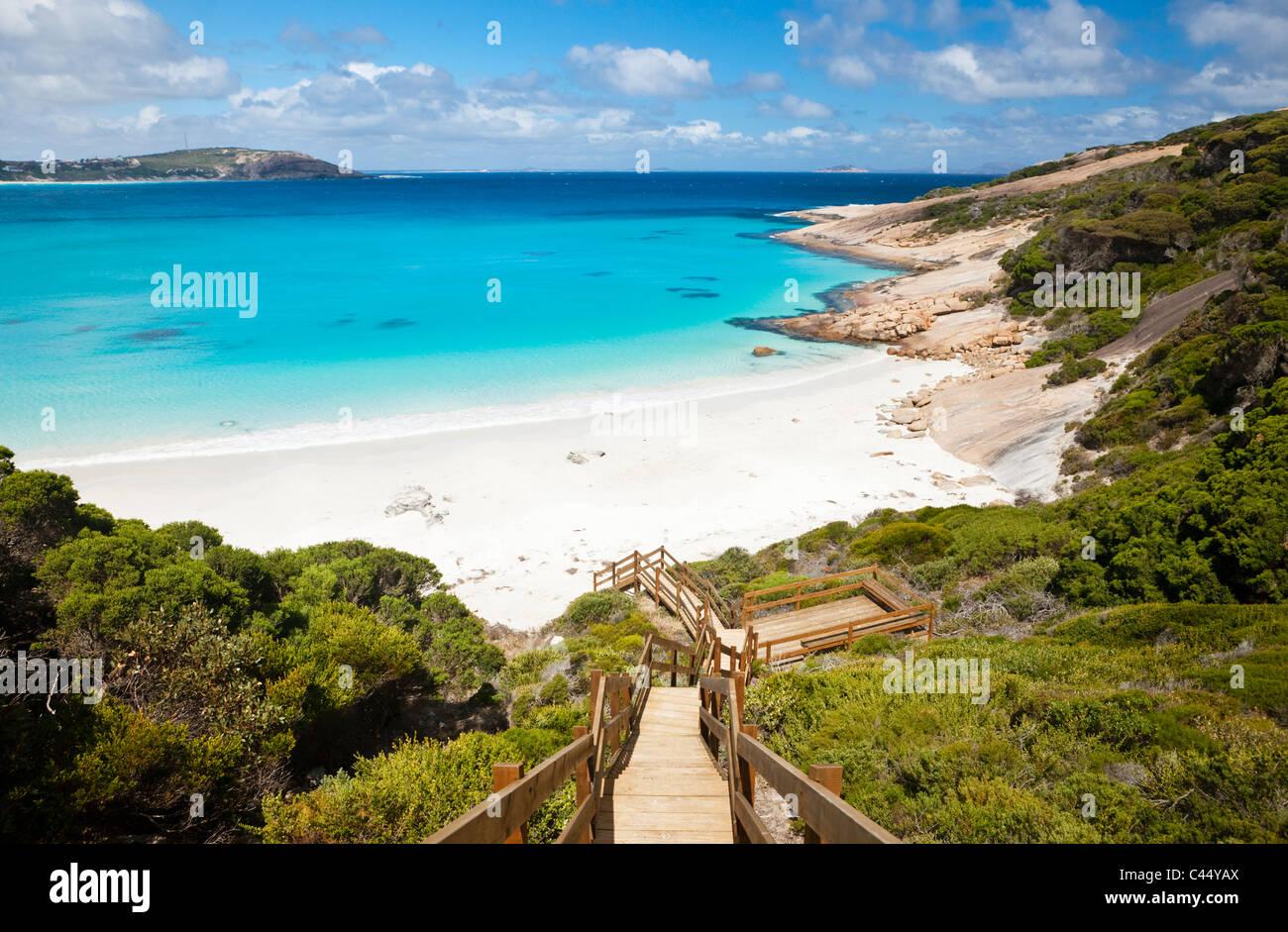Boardwalk leading down to Blue Haven Beach. Esperance, Western Australia, Australia - Stock Image