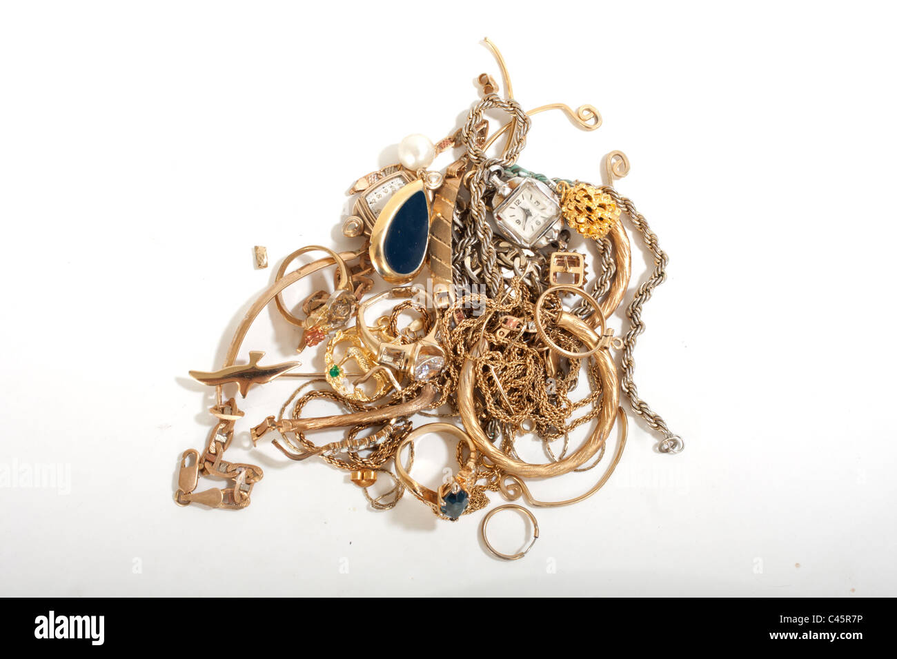 pile of old broken gold jewelry for scrap Stock Photo 37007370 Alamy