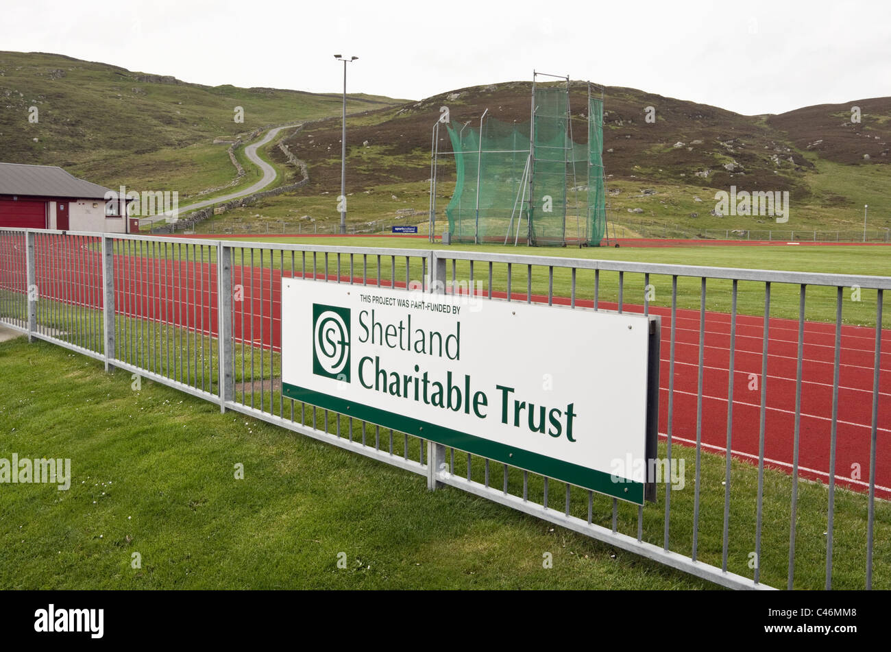 Clickimin Leisure Complex sports ground and charitable trust funding sign.Lerwick, Shetland Islands, Scotland, UK, - Stock Image