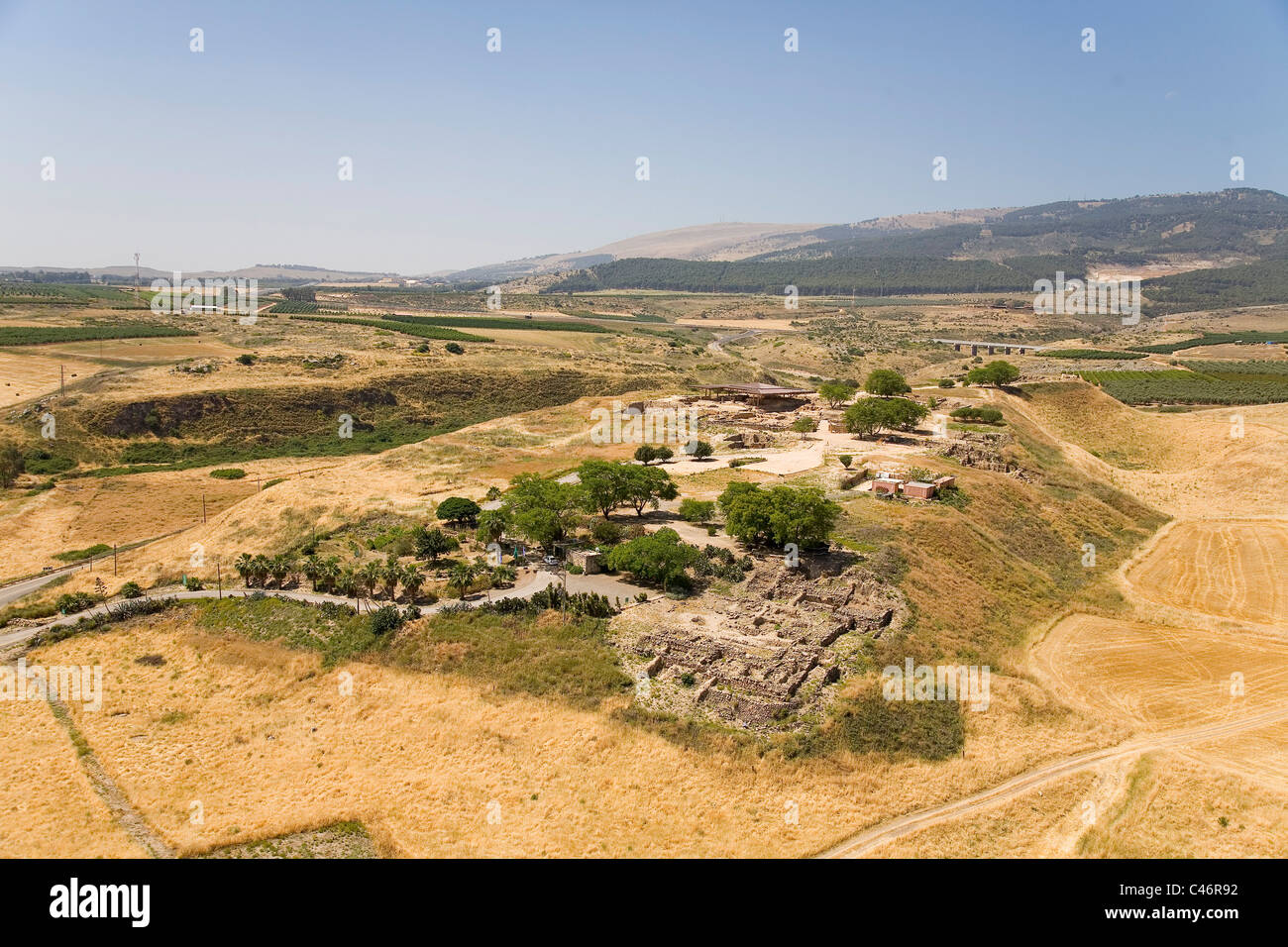 Aerial photograph of the ruins of Mound Hazor in the Upper Galilee Stock Photo