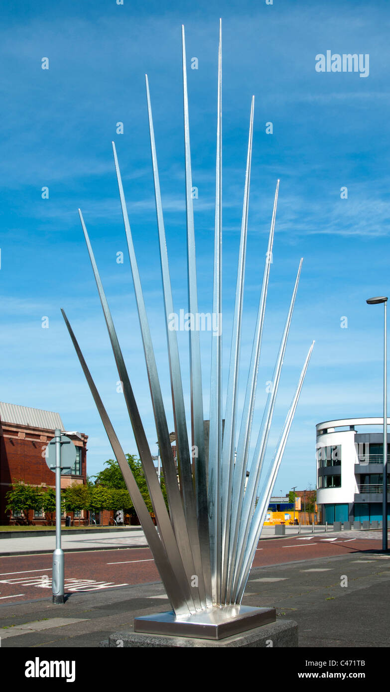 Munitions Factory Explosion Memorial, by Paul Margetts. Henry Square, Ashton under Lyne, Tameside, Manchester, England, - Stock Image