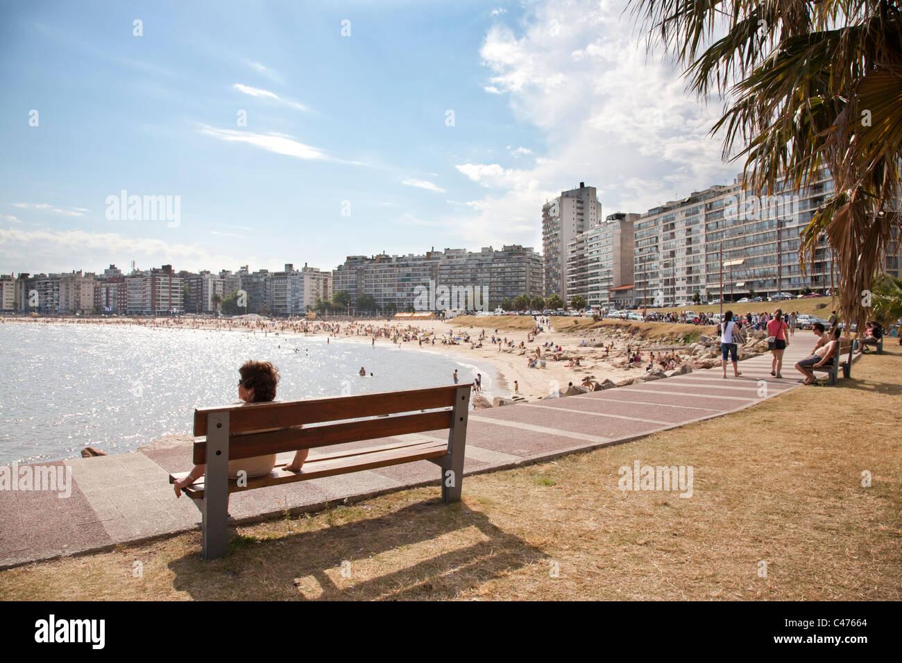Playa Pocitos, City Beach, Montevideo, Uruguay. - Stock Image