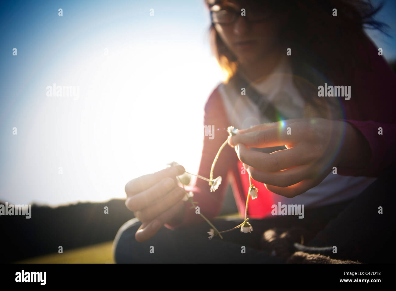 Girl making heart shaped daisy chain - Stock Image