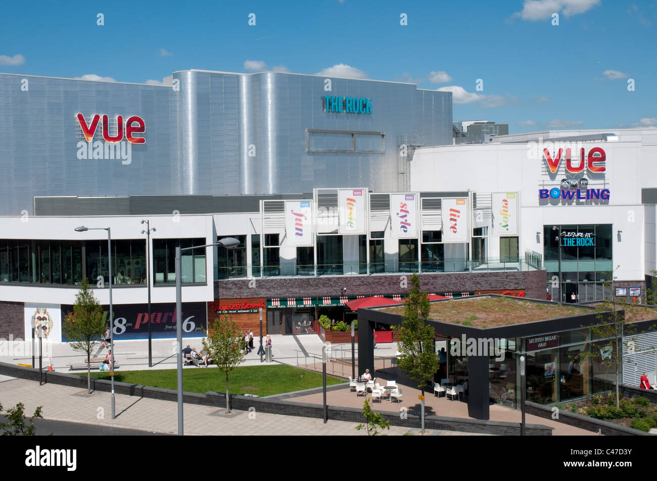 The Rock,Bury,Greater Manchester.Opened in 2010 the  complex houses retail,cinema,entertainment and restaurants - Stock Image