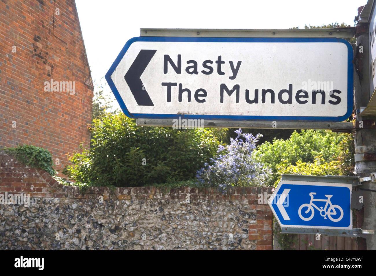 nasty road sign Hertfordshire Stock Photo