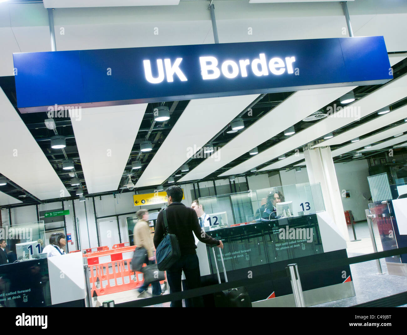 Immigration at UK Border control at an airport in Britain Stock Photo