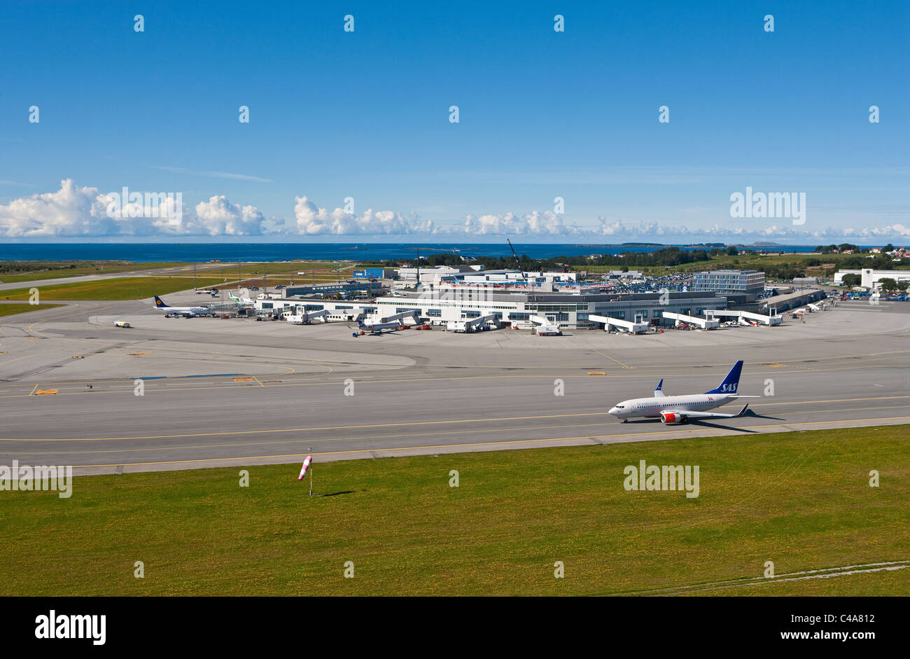 Sola Airport. Terminals and main building seen from the runway, Rogaland, Norway Stock Photo