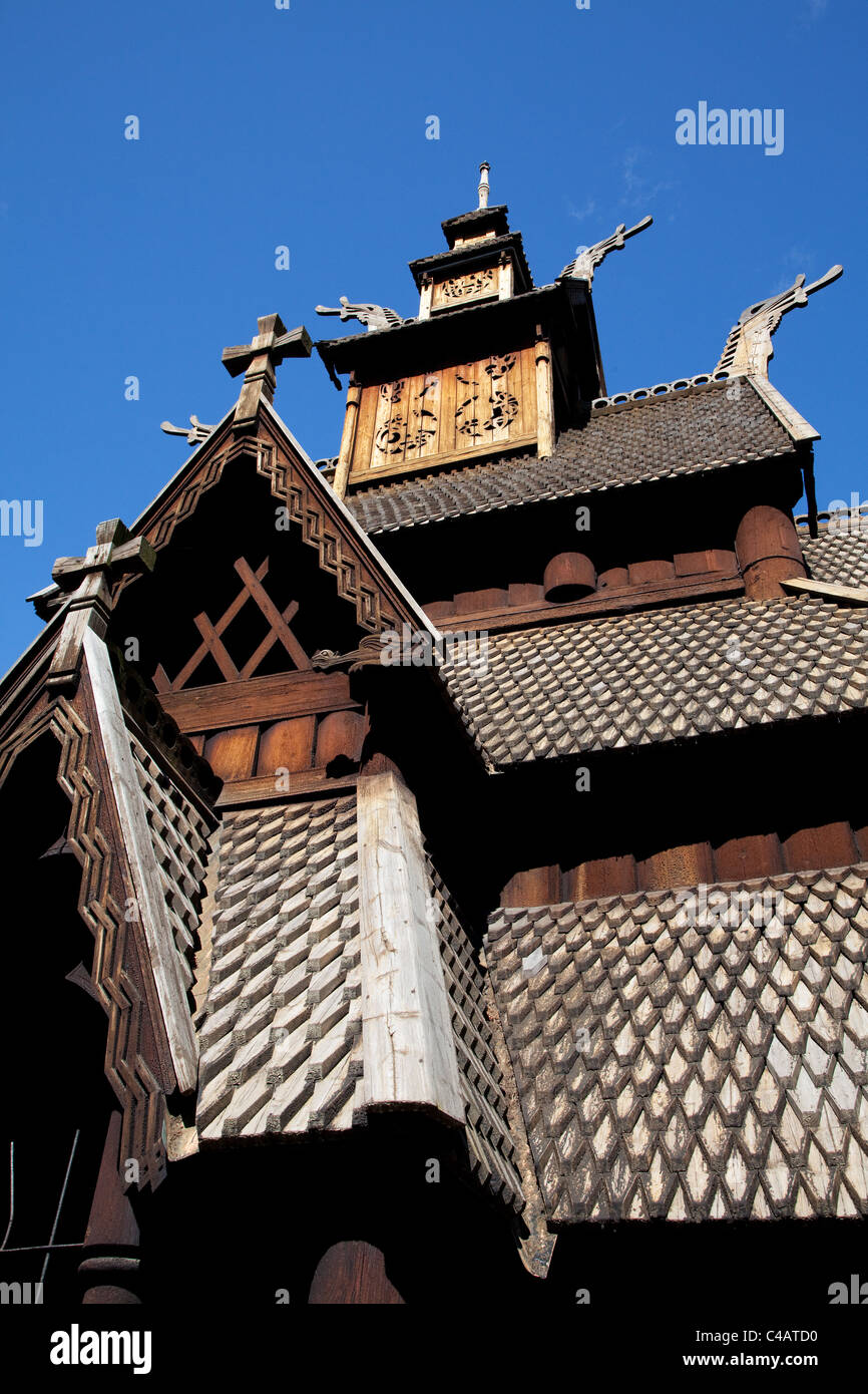 Stave church from Gol in the Norsk Folkemuseum on the island of Bygdoy in Oslo, capital city of Norway - Stock Image