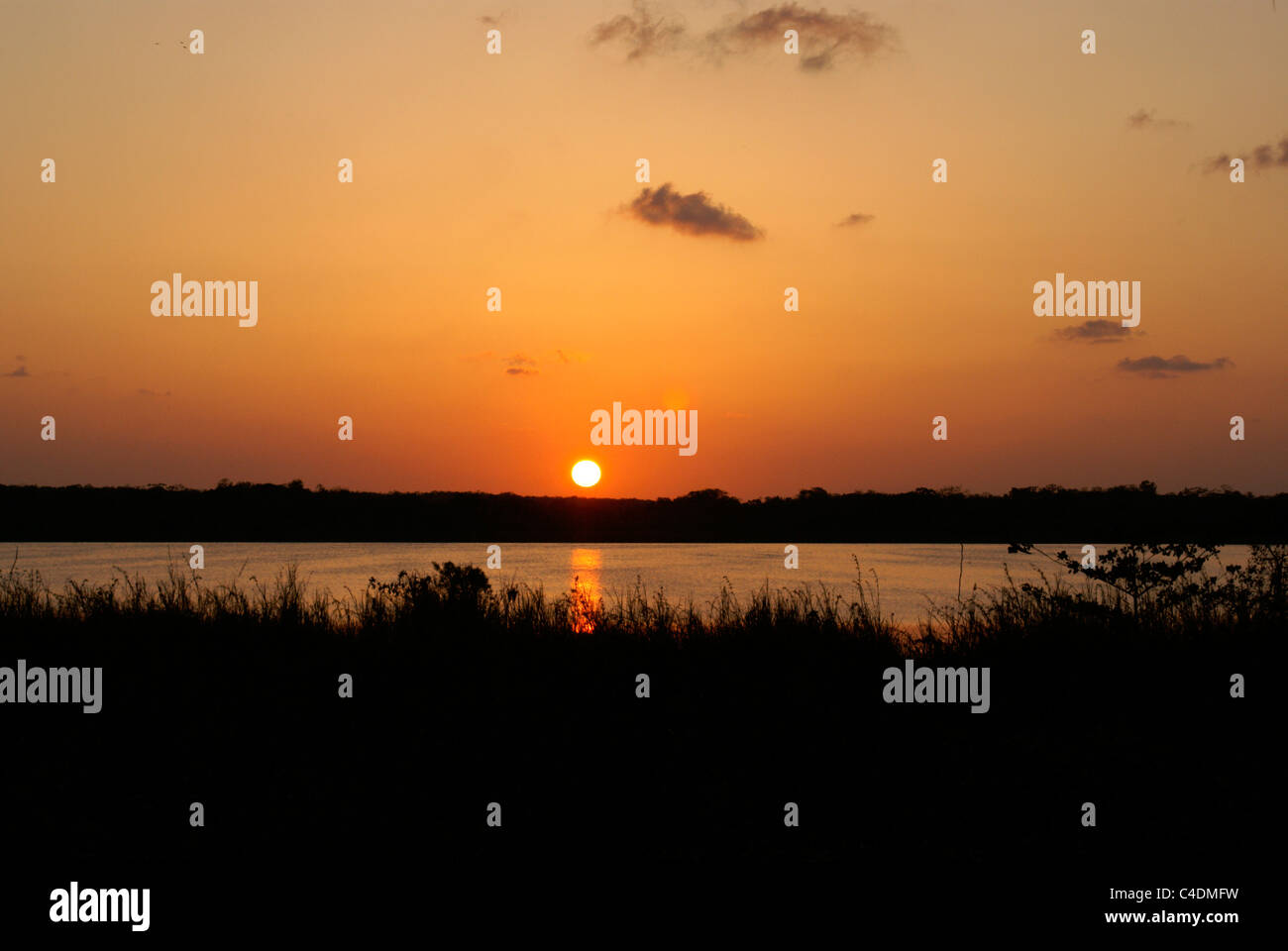 sun-setting-over-lake-coba-coba-quintana