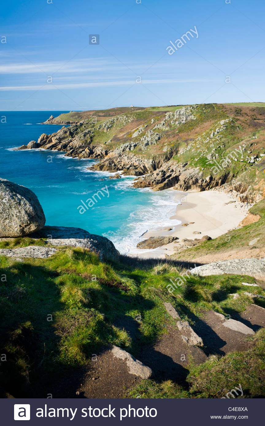 Porth Chapel beach, near Porthcurno, Cornwall, England. - Stock Image
