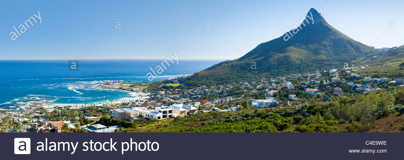 Camps Bay and Lion's Head, Cape Town, South Africa. - Stock Image