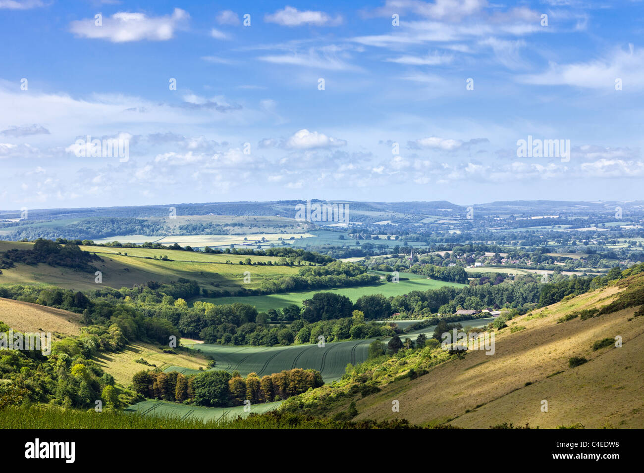 English countryside view of rolling hills in the english countryside, Dorset, England, UK - Stock Image