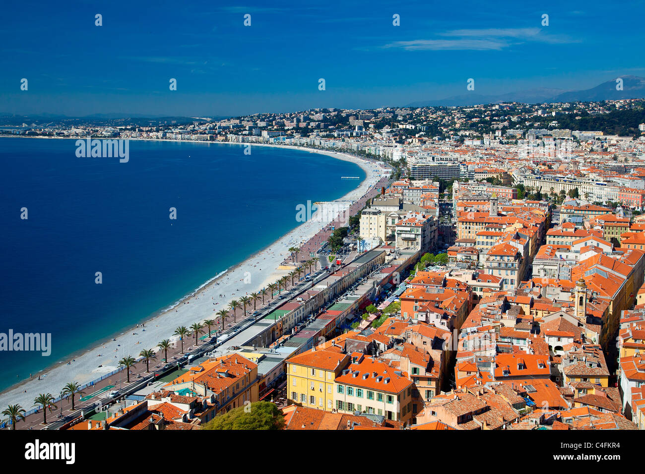 Europe, France, Alpes-Maritimes (06), Beach and Promenade des Anglais in Nice - Stock Image