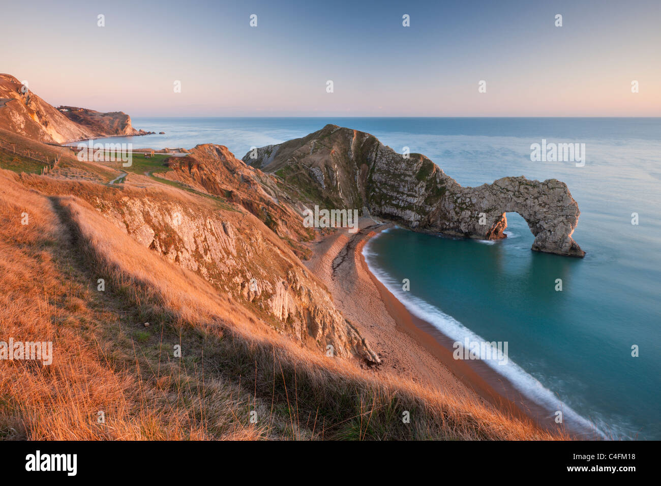 View from cliff tops down into Durdle Door Dorset England. Winter (January) 2011 & View from cliff tops down into Durdle Door Dorset England. Winter ...