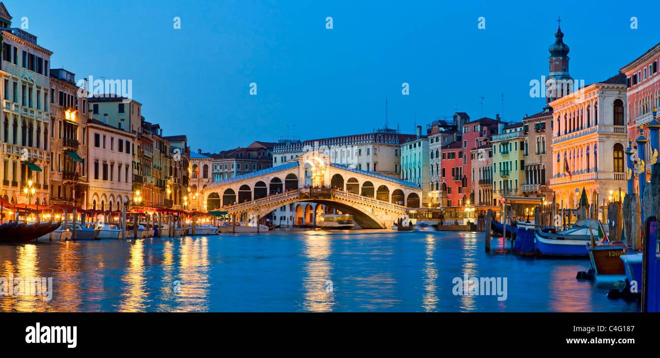Venice, Rialto Bridge and Grand Canal at Night - Stock Image