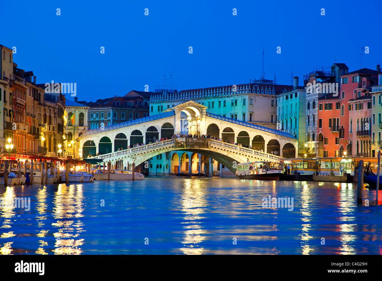 Venice, Rialto Bridge at Night - Stock Image