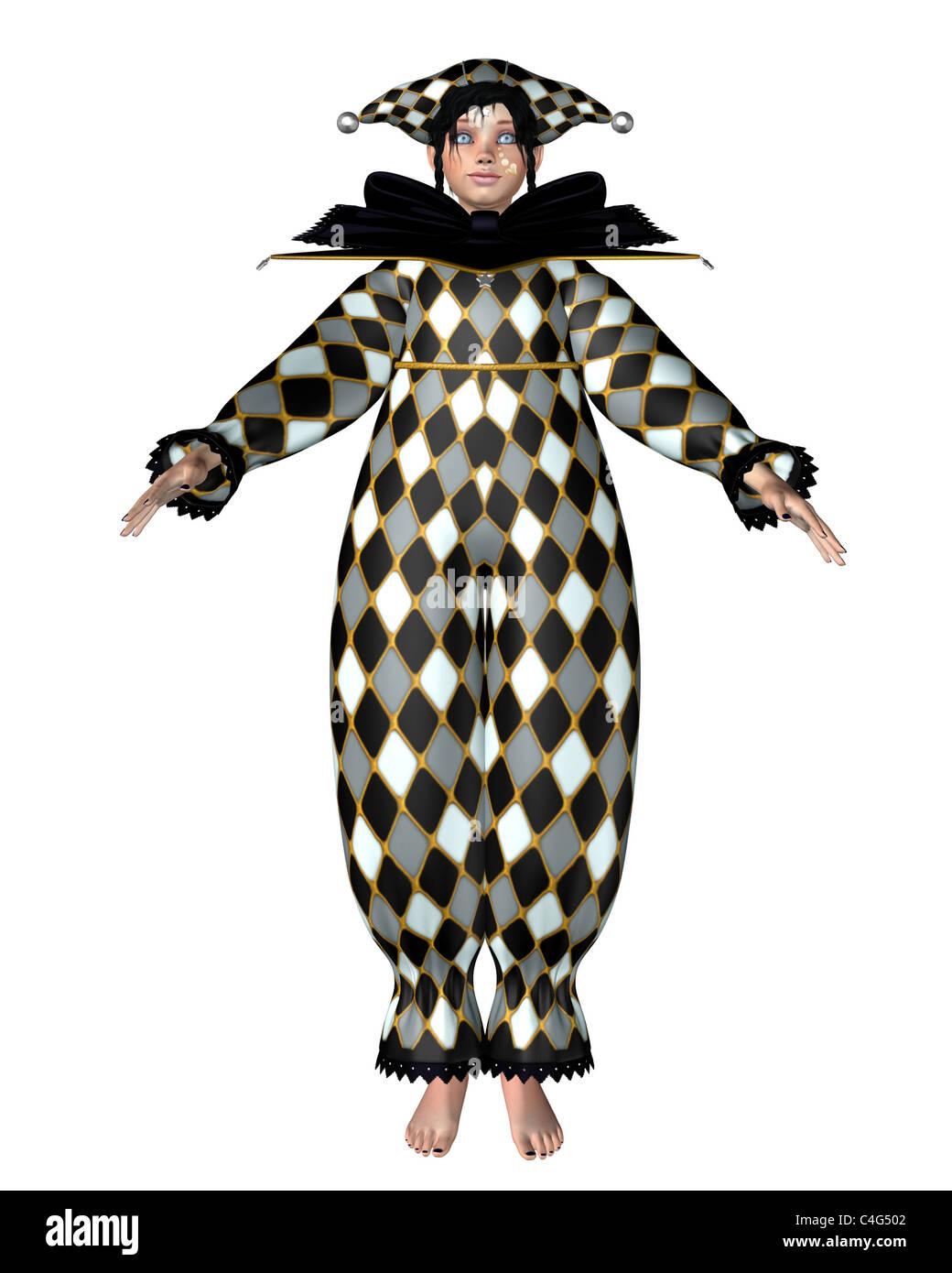 Pierrot Clown Doll - Harlequin checks - Stock Image