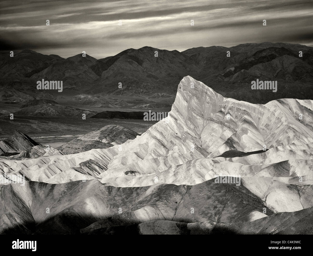 Manly Peak from Zabriskie Point sunrise. Death Valley National Park, California - Stock Image