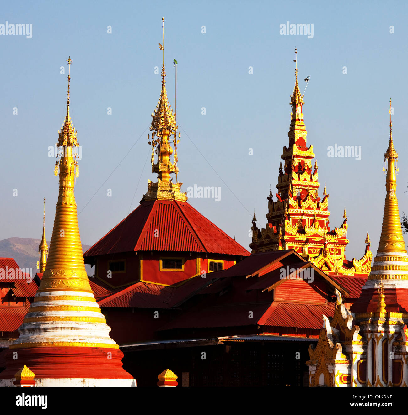 Buddhist temple roof ,Myanmar - Stock Image