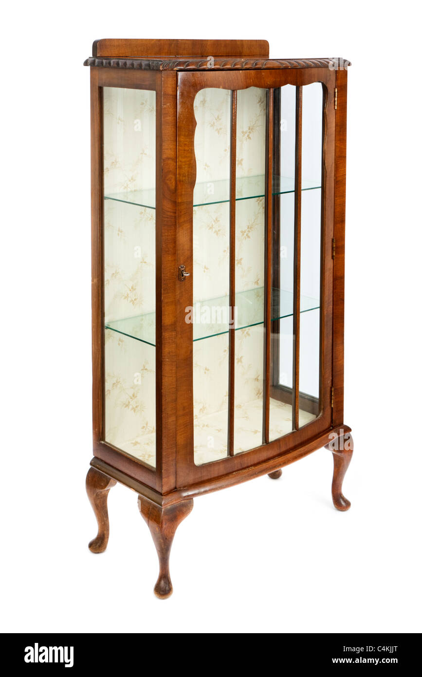 Antique walnut and glass display cabinet - Antique Walnut And Glass Display Cabinet Stock Photo: 37311088 - Alamy
