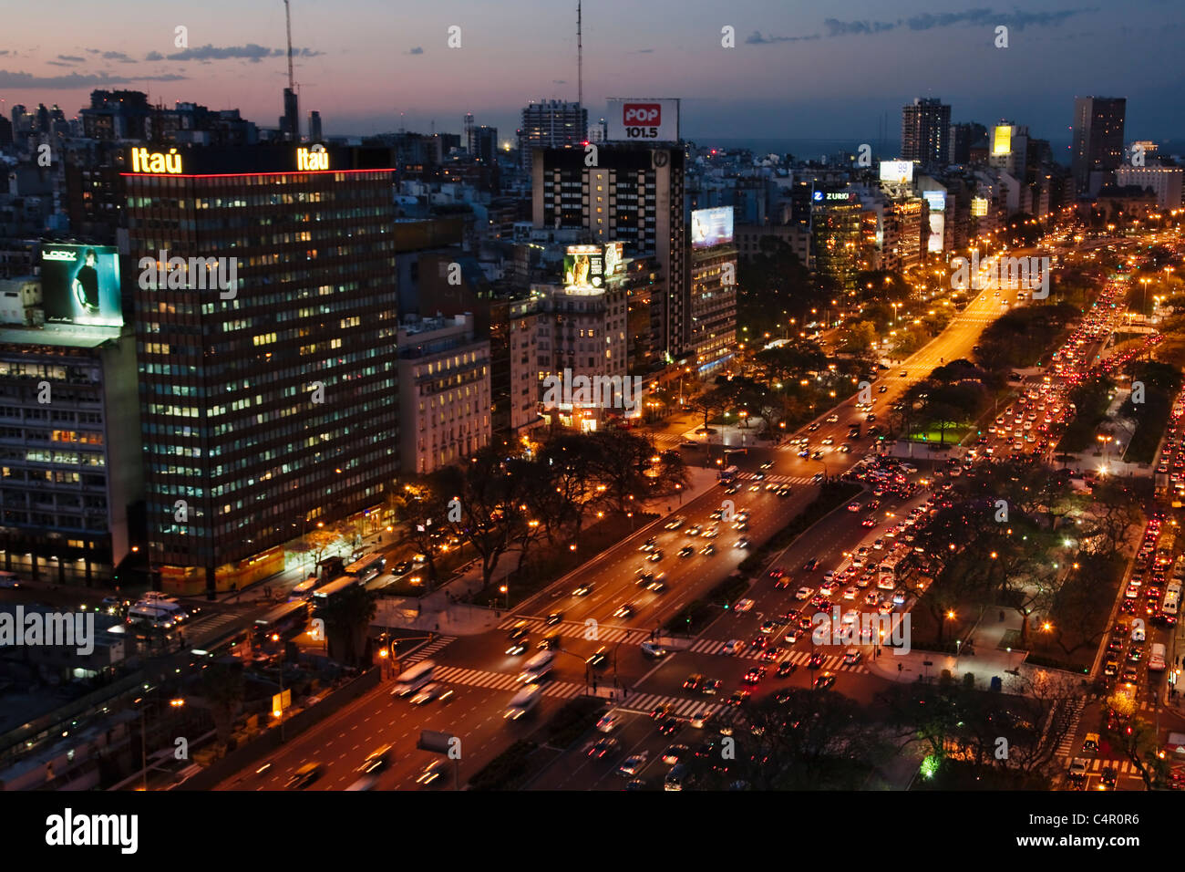 Aerial view of Avenue 9 de Julio at night, Buenos Aires, Argentina - Stock Image