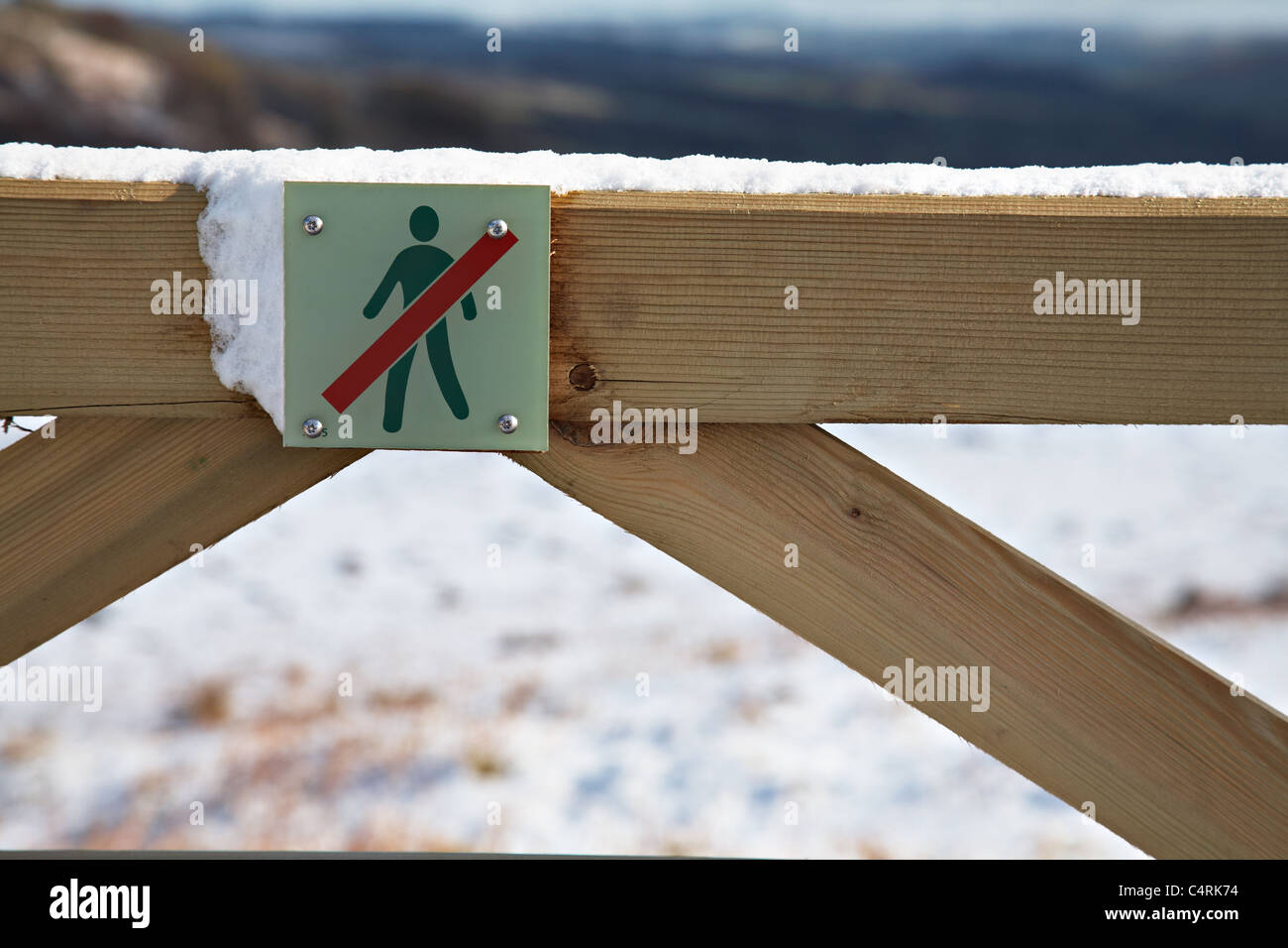 No Open Access sign on a gate, Brecon Beacons National Park, Wales - Stock Image
