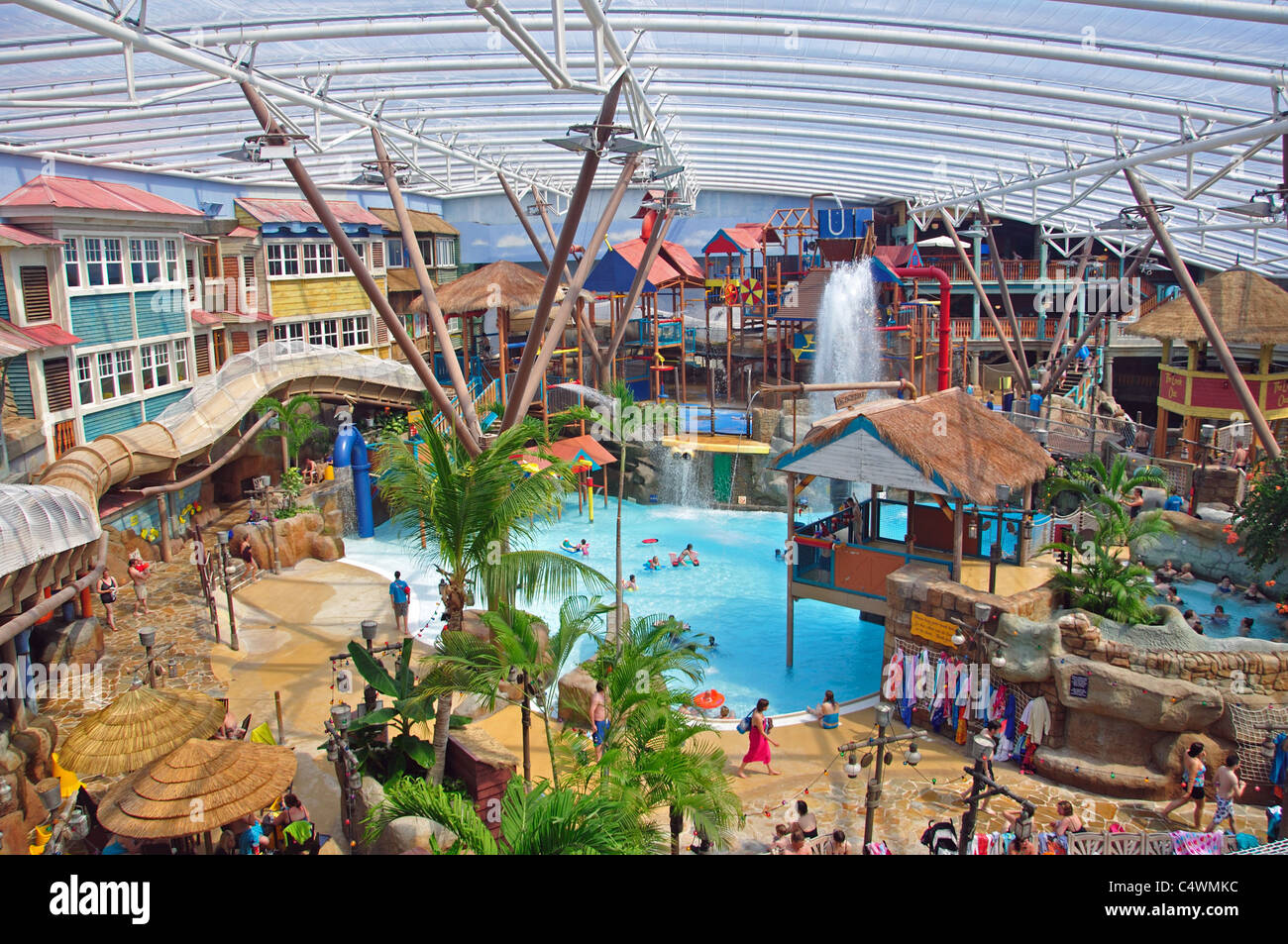 Alton Towers Waterpark at Splash Landings Hotel, Alton Towers Theme Park, Alton, Staffordshire, England, United Stock Photo