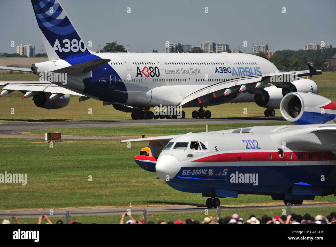 Beriev Be-200 Altair and Airbus A380 at Le Bourget Airshow 2011 - Stock Image