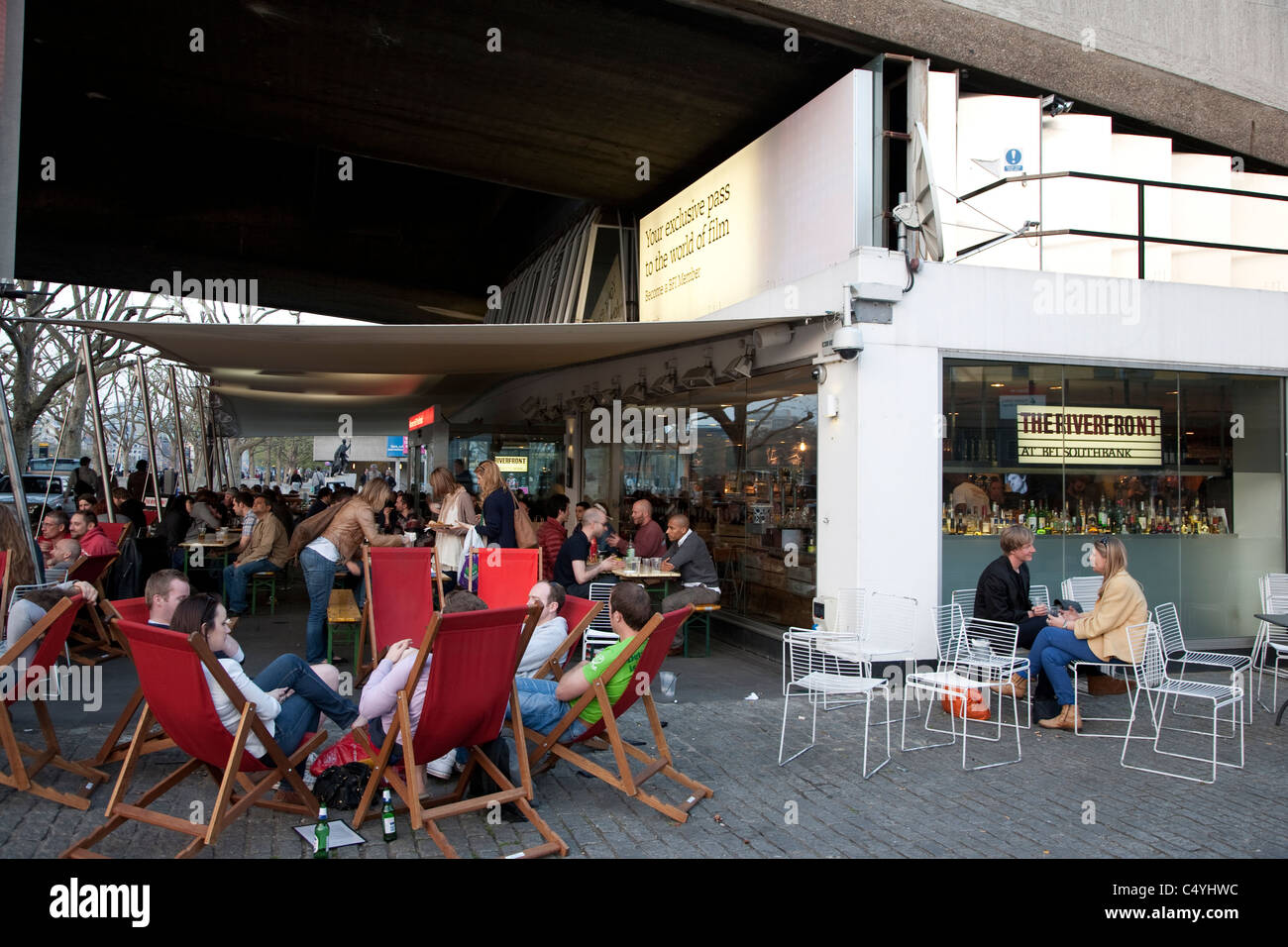 Riverfront Bar at the British Film Institute - BFI, South Bank, London, England, UK - Stock Image