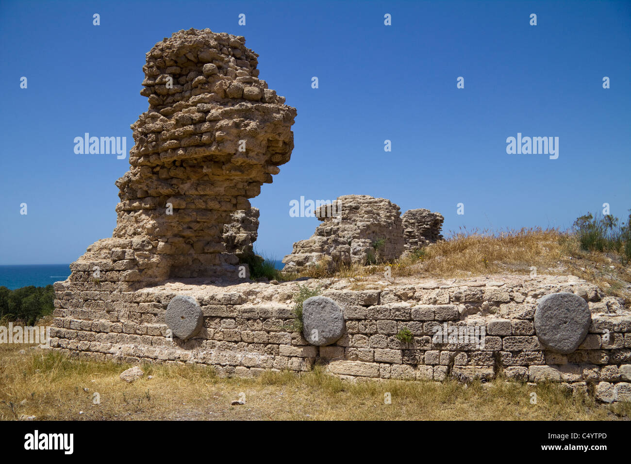 Canaanite fortifications Ashkelon National Park, Israel Stock Photo