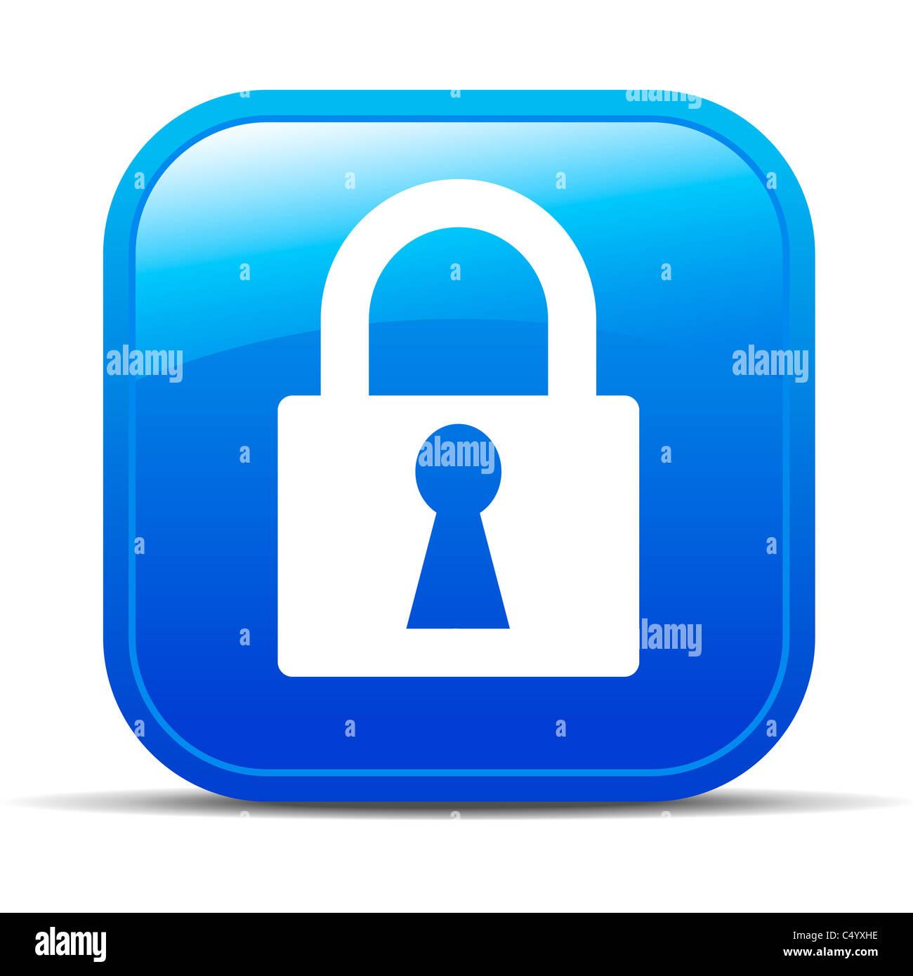 Padlock lock Internet button Icon - Stock Image