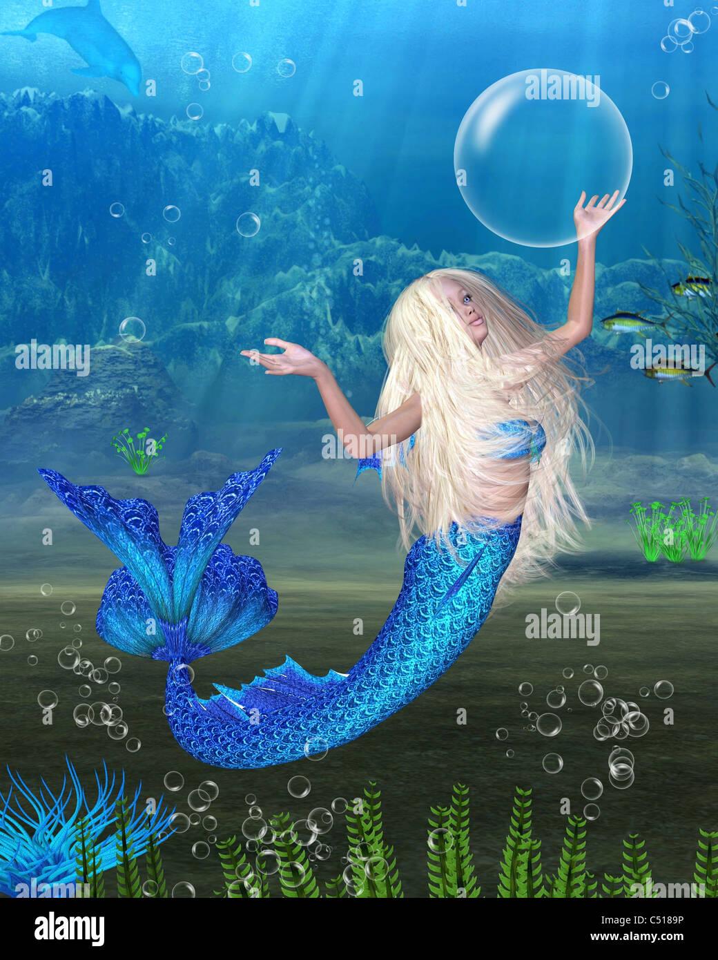 Pretty Blonde Mermaid with underwater background - Stock Image