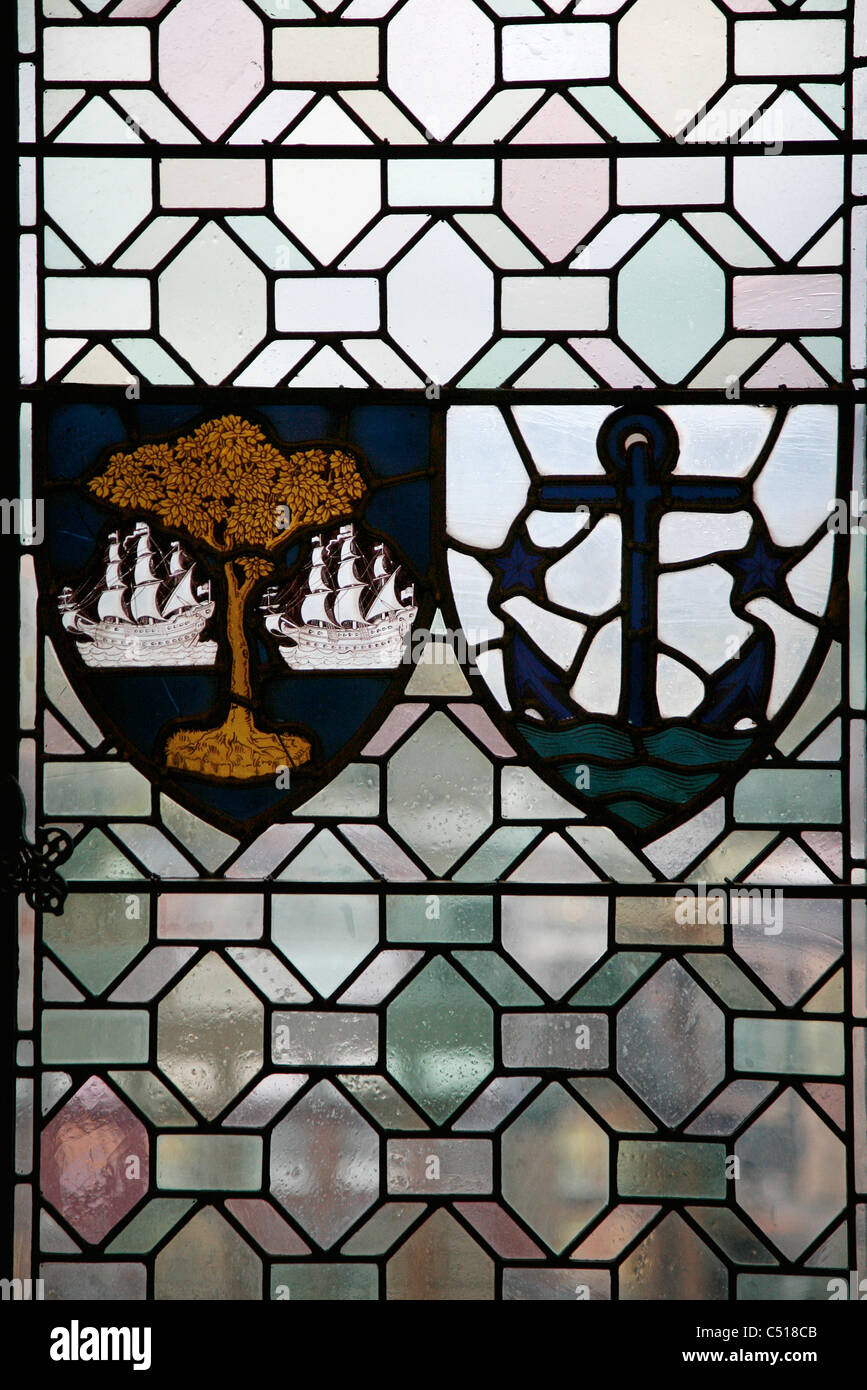 Stained glass window with coats of arms - Stock Image