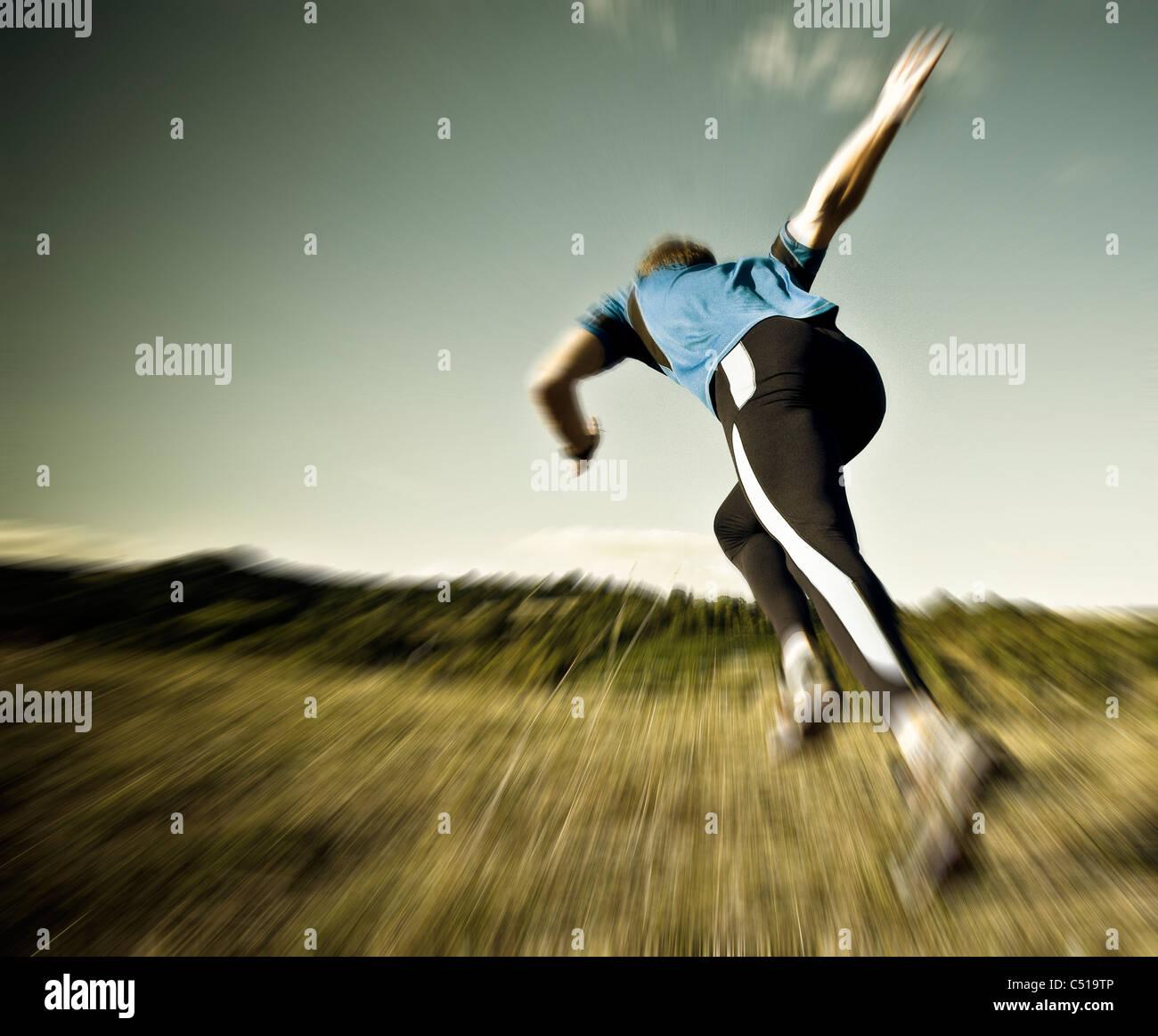 Runner at the start - Stock Image