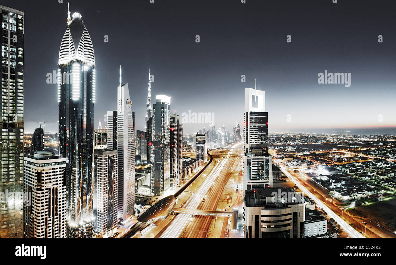 Evening at the Persian Gulf, traffic, city, downtown Dubai, Dubai, United Arab Emirates, Middle East Stock Photo
